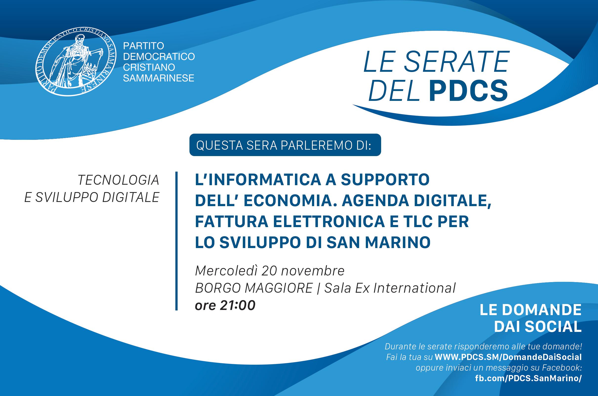 20/11 – L'informatica a supporto dell'Economia. Agenda digitale, Fattura elettronica e TLC per lo sviluppo di San Marino