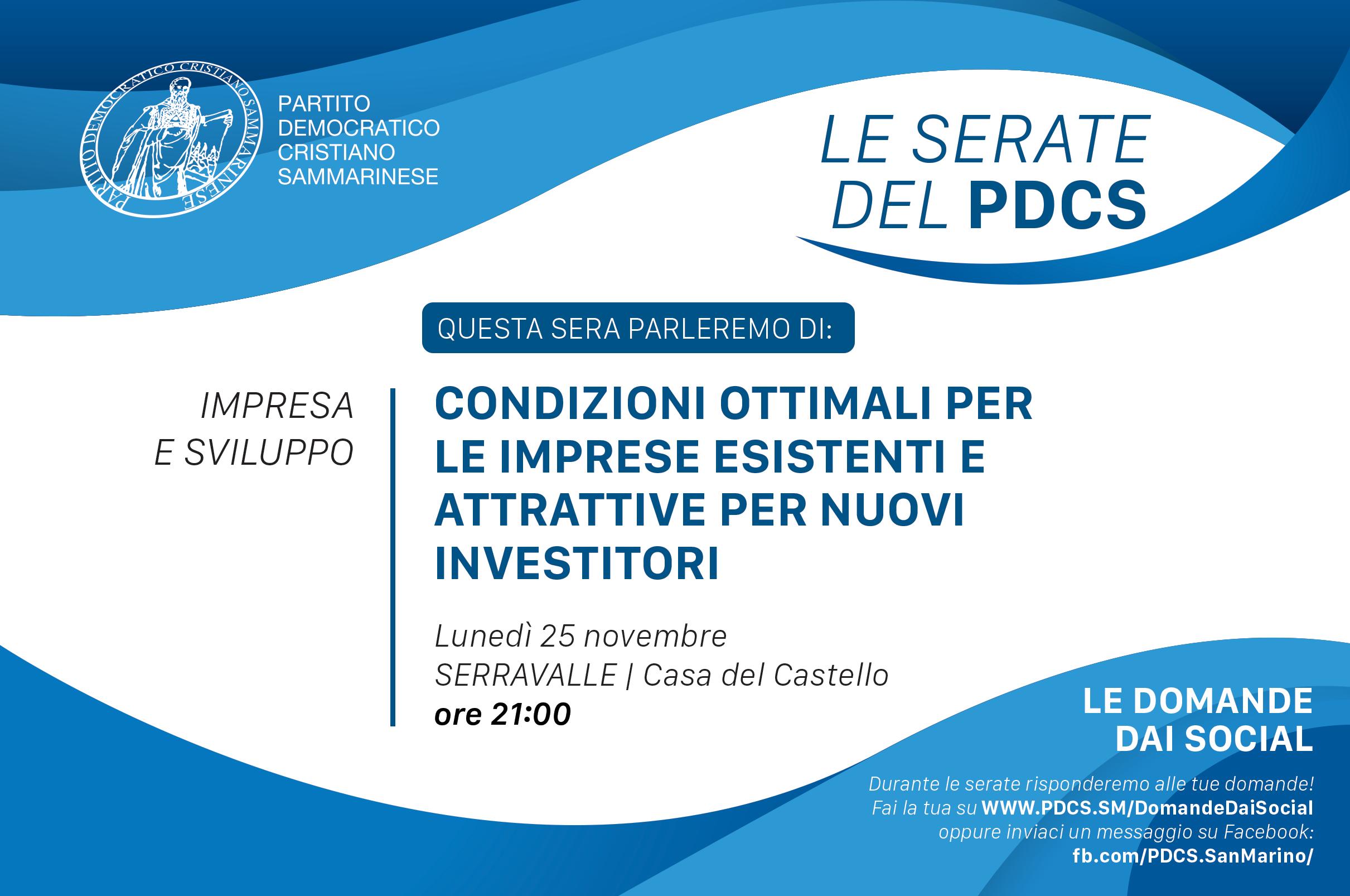 Lunedì 25/11 – Condizioni ottimali per le imprese esistenti e attrattive per i nuovi investitori