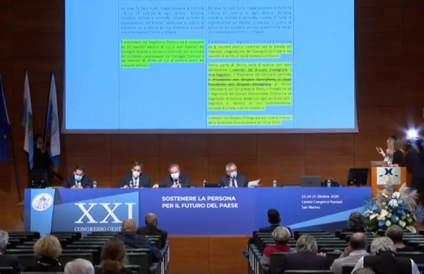 Al Centro Congressi Kursaal prosegue il dibattito del XXI Congresso del Pdcs Ufficializzate le candidature di Gian Carlo Venturini e Marcella Michelotti