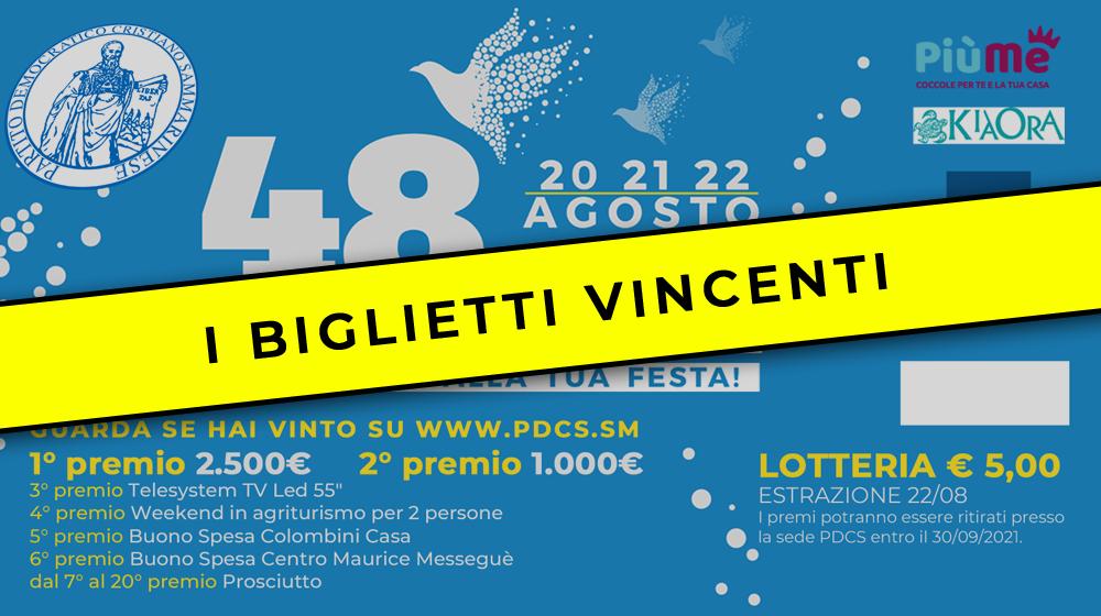 Estrazione Lotteria 48 Festa dell'Amicizia 2021 – I biglietti vincenti